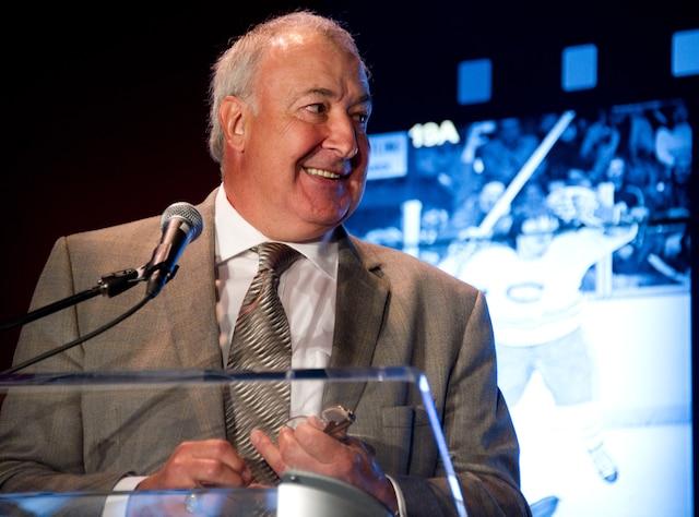 Le Canadien de Montréal a tenu une conférence de presse au Centre Bell le jeudi 19 juin 2014 afin de confirmer le retrait du numéro 5 de l'ex-défenseur Guy Lapointe durant la prochaine saison. Sur la photo, Guy Lapointe. MARTIN ALARIE/AGENCE QMI