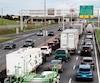 La congestion routière sur l'autoroute Henri-IV juste avant le nouveau chantier de construction.