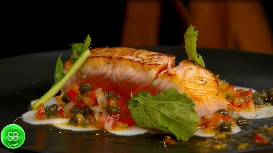 Mi-cuit de saumon légèrement mariné