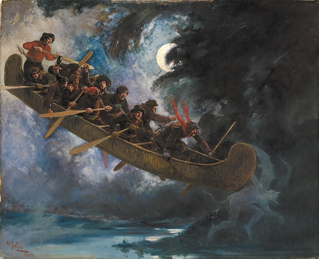 Une toile d'Henry Julien, exposée au Musée des beaux-arts du Canada à Ottawa et datant de 1892, montre l'envolée des bûcherons.