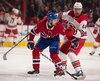 (53) Victor Mete et (44)Calvin de Haan lors de la première période du match opposant les Canadiens de Montréal et les Hurricanes de la Caroline au Centre Bell. Montréal, 27 novembre 2018. PIERRE-PAUL POULIN/LE JOURNAL DE MONTRÉAL/AGENCE QMI