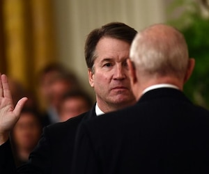 Swearing-in ceremony for new Supreme Court justice Brett Kavanaugh after weekend confirmation