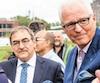 Martin Cauchon (à gauche), du Groupe Capitales Médias et André Desmarais, de Power Corporation, ancien proprio des quotidiens, en septembre 2017, soit trois mois avant le prêt de 10M$ d'Investissement Québec à l'entreprise de M.Cauchon.