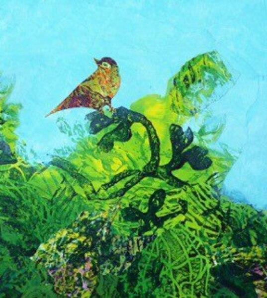 Le chant des buissons<br /> Acrylique-collage – 40 po x 40 po. <br /> Au Chat des artistes – local 112