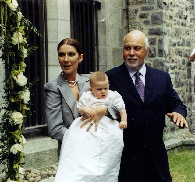 Céline Dion, René Angelil et René-Charles. Baptême de René-Charles. Juillet 2001. Photo Luc Laforce / Le Journal de Montréal.