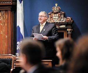 Jacques Chagnon a refusé systématiquement les demandes d'accès à l'information du <i>Journal</i> concernant les dépenses des missions parlementaires. Sur cette photo, on voit le président de l'Assemblée nationale au Salon bleu, lors de la période de questions, le 16novembre 2017.