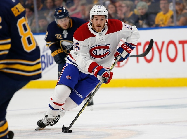 BUFFALO, NY - OCTOBER 5: Andrew Shaw #65 of the Montreal Canadiens skates with the puck during the first period against the Buffalo Sabres at the KeyBank Center on October 5, 2017 in Buffalo, New York.   Kevin Hoffman/Getty Images/AFP == FOR NEWSPAPERS, INTERNET, TELCOS & TELEVISION USE ONLY ==