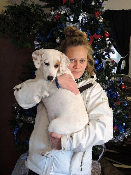 Mélanie Leduc et sa chienne Maggie passeront Noël chez eux.