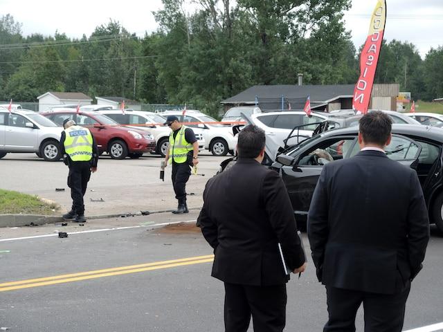 Les enquêteurs en reconstitution d'événements du Service de police de la Ville de Québec ont passé toute la journée d'hier sur la scène de l'accident.