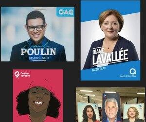 Sélection des affiches électorales de la Coalition avenir Québec, du Parti québécois, de Québec solidaire et du Parti libéral du Québec.