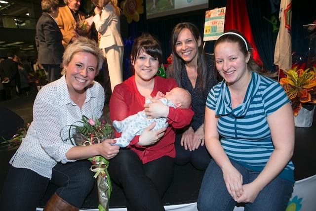Ève-Marie Lortie , Marie Élaine Thibert, Isabelle Charets et Vicky Rainguette lors du Salon Maternité Paternité Enfants.