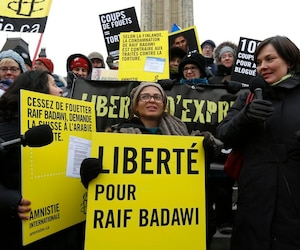 Haidar takes part in a demonstration calling for the release of her husband, Raif Badawi, on Parliament Hill in Ottawa