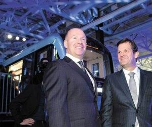 Alain Bellemare (président et chef de la direction), Pierre Beaudoin (président exécutif du conseil d'administration) et Laurent Beaudoin (auparavant, président émérite) lors d'une récente assemblée annuelle des actionnaires.