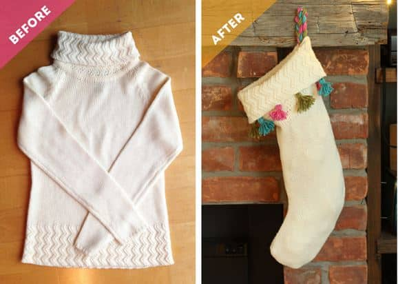 old sweater new stocking christmas diy