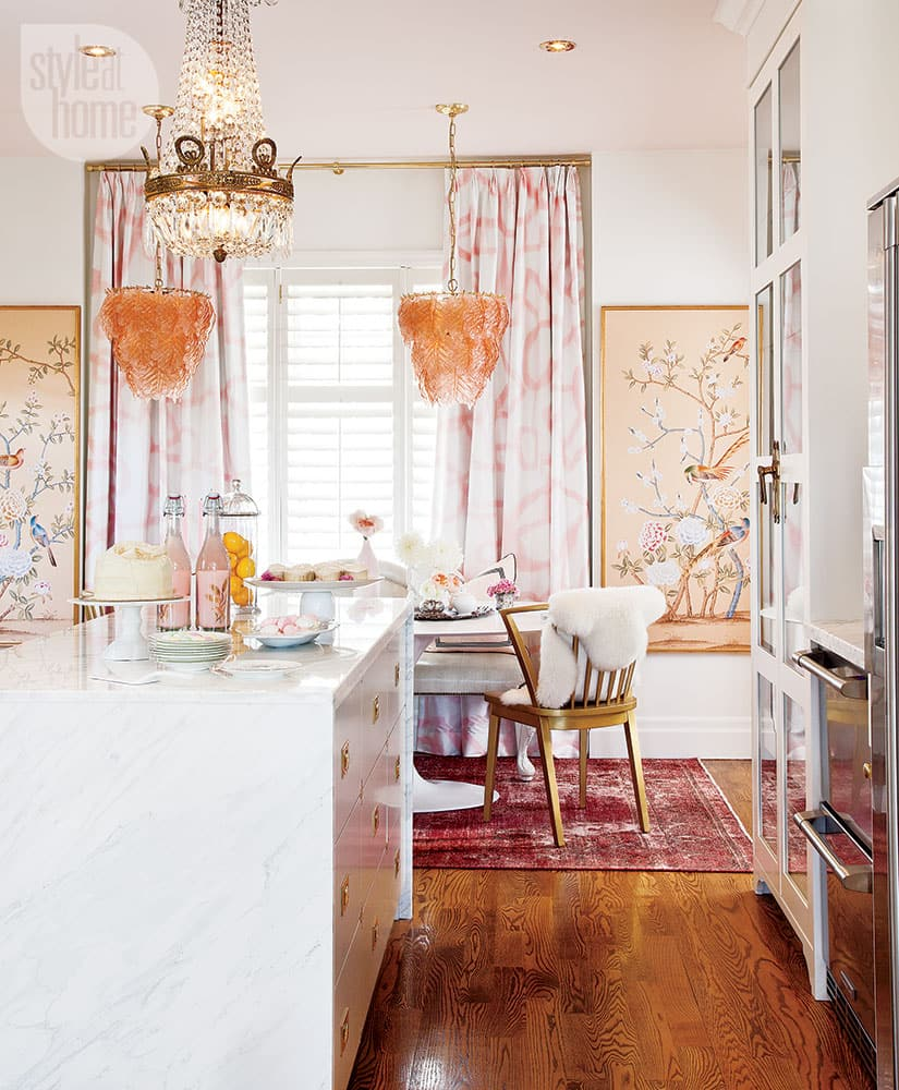 Feminine glam kitchen.