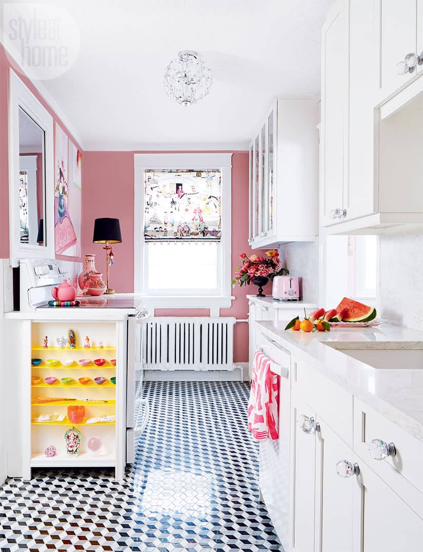 Pops Of Pink Add Quirky Charm To A Petite Kitchen Style At Home