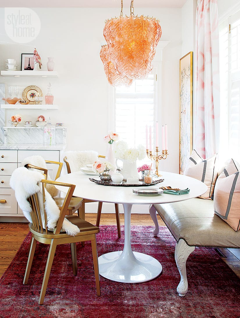 Feminine glam dining space.