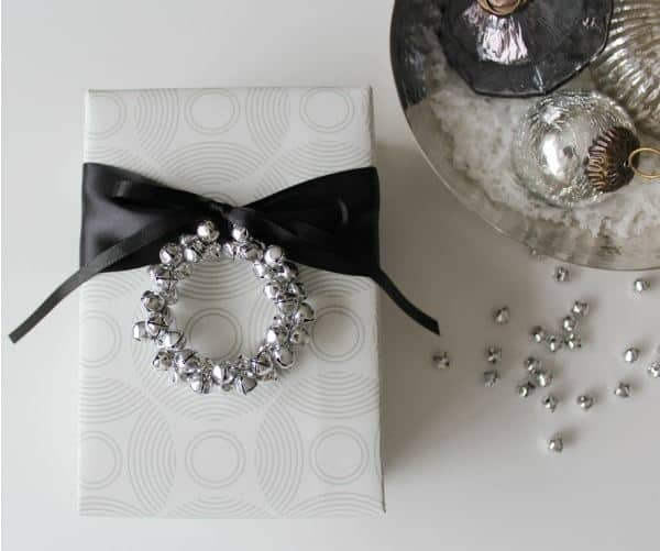 jingle bell ornament and gift wrapping