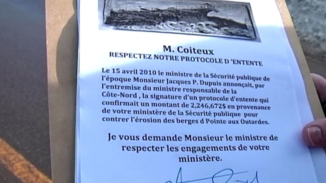Érosion des berges de Pointe-aux-Outardes: une pétition déposée - TVA Nouvelles