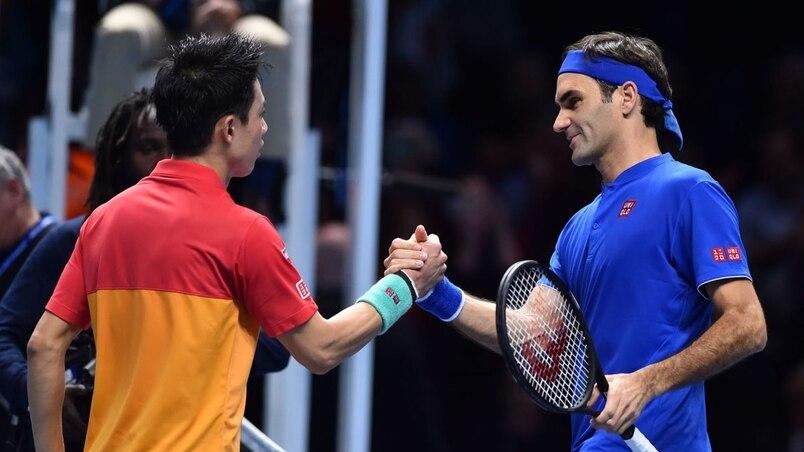 Kei Nishikori et Roger Federer
