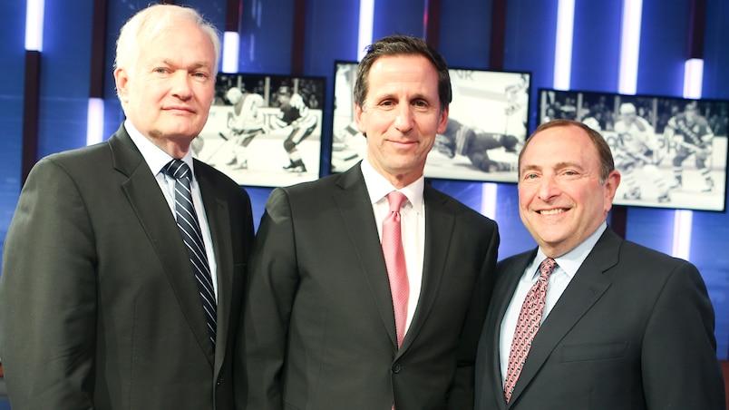 Donald Fehr, Serge Fortin et Gary Bettman