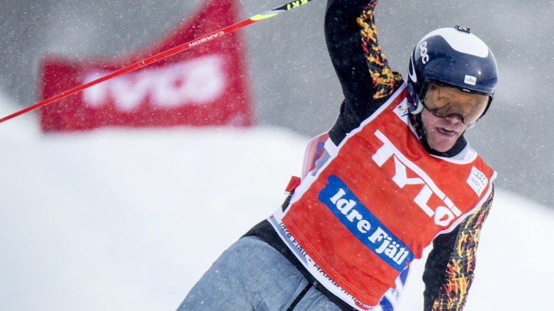 Christopher Del Bosco of Canada is seen at the finish line as he takes second place during the World Cup Freestyle Ski Cross in Idre