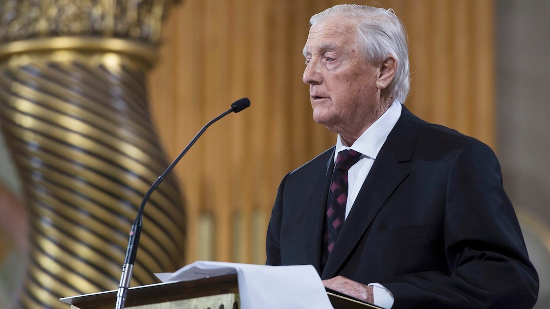 Former Montreal Canadiens teammate Dickie Moore speaks at the funeral for former Montreal Canadiens captain Jean Beliveau in Montreal
