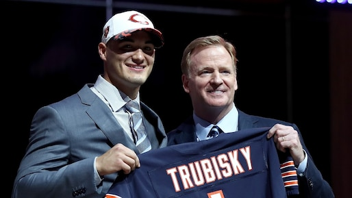 PHILADELPHIA, PA - APRIL 27: (L-R) Mitchell Trubisky of North Carolina poses with Commissioner of the National Football League Roger Goodell after being picked #2 overall by the Chicago Bears (from 49ers) during the first round of the 2017 NFL Draft at the Philadelphia Museum of Art on April 27, 2017 in Philadelphia, Pennsylvania. Elsa/Getty Images/AFP == FOR NEWSPAPERS, INTERNET, TELCOS & TELEVISION USE ONLY ==