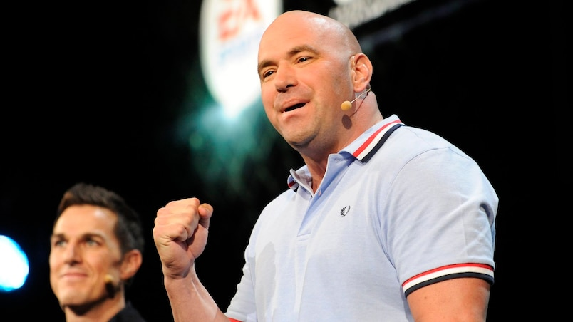 President of the UFC White and Electronic Arts' Executive Vice President Wilson unveil EA Sports UFC during the Electronic Arts news conference as part of E3 in Los Angeles, California