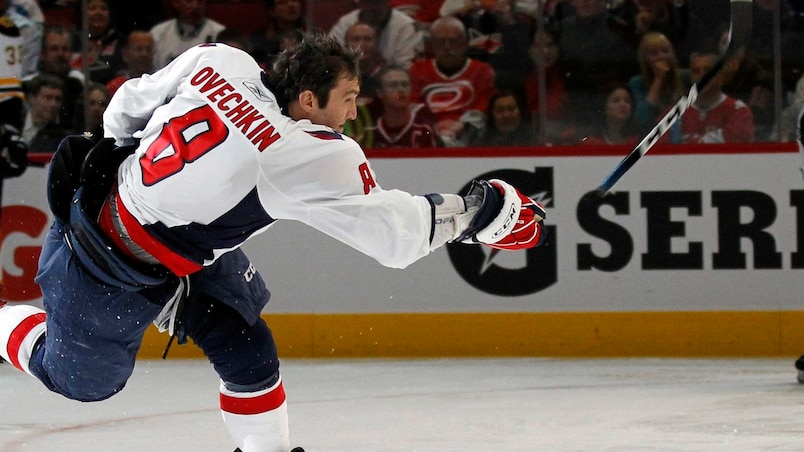 Washington Capitals forward Alex Ovechkin shoots during the hardest shot competition during the NHL All-Star hockey skills competition in Raleigh