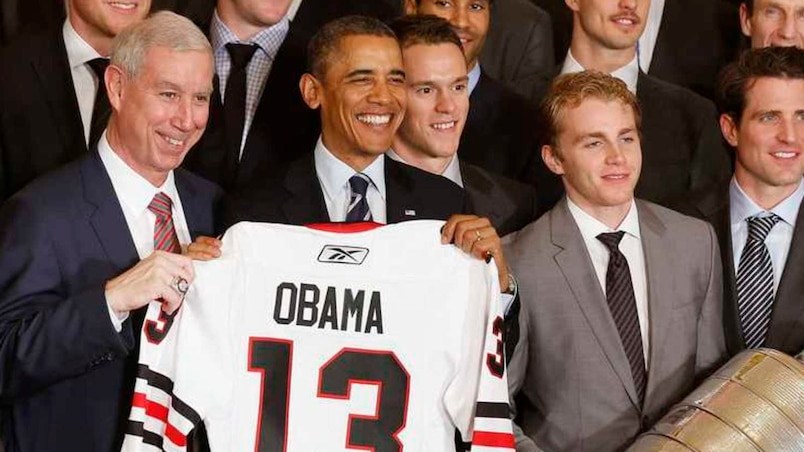 U.S. President Obama poses with 2013 NHL Stanley Cup champions Chicago Blackhawks in Washington