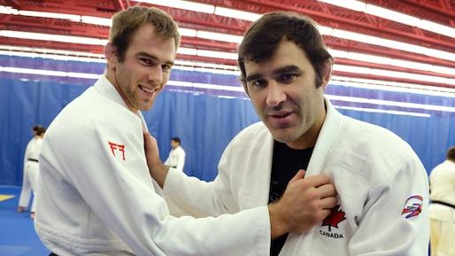 Antoine Valois-Fortier et son entraîneur, Nicolas Gill