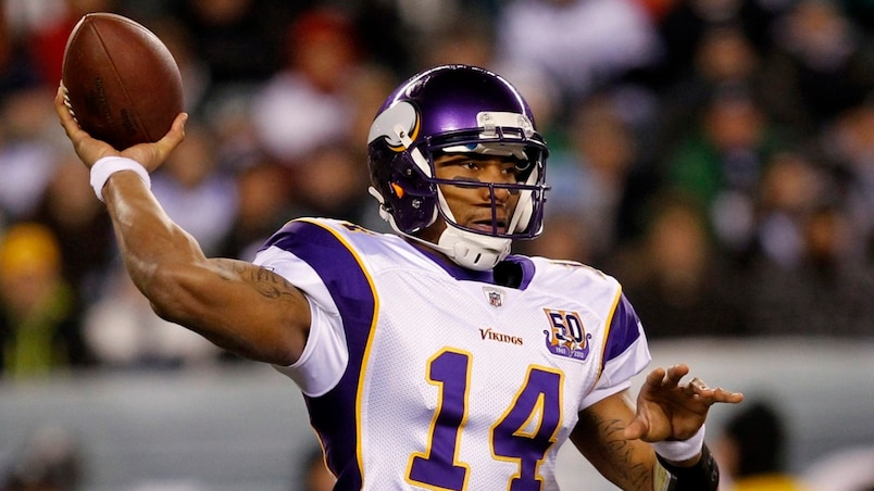 Vikings' Webb throws against the Eagles during their NFL football game in Philadelphia