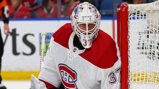BUFFALO, NY - MARCH 23: Antti Niemi #37 of the Montreal Canadiens tends net against the Buffalo Sabres during the second period at KeyBank Center on March 23, 2018 in Buffalo, New York. Kevin Hoffman/Getty Images/AFP == FOR NEWSPAPERS, INTERNET, TELCOS & TELEVISION USE ONLY ==