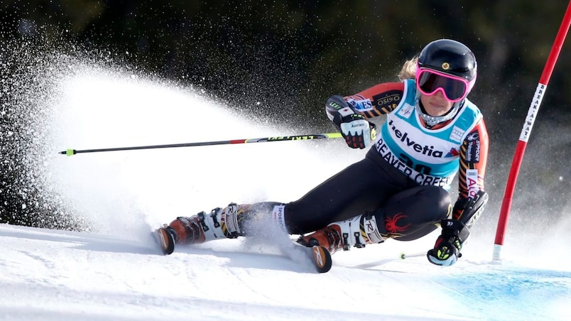 Marie-Pier Prefontaine of Canada skis during the second run on her way to finishing ninth in the women's World Cup Giant Slalom ski race in Beaver Creek