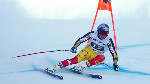 Guay of Canada clears a gate during the World Cup Men's Downhill race in the Bavarian ski resort of Garmisch-Partenkirchen