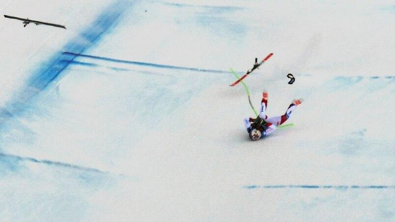Violente chute en ski alpin