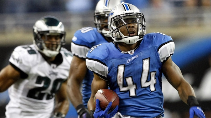 Detroit Lions running back Jahvid Best runs for a touchdown against the Philadelphia Eagles during the first half of their NFL home opening football game in Det
