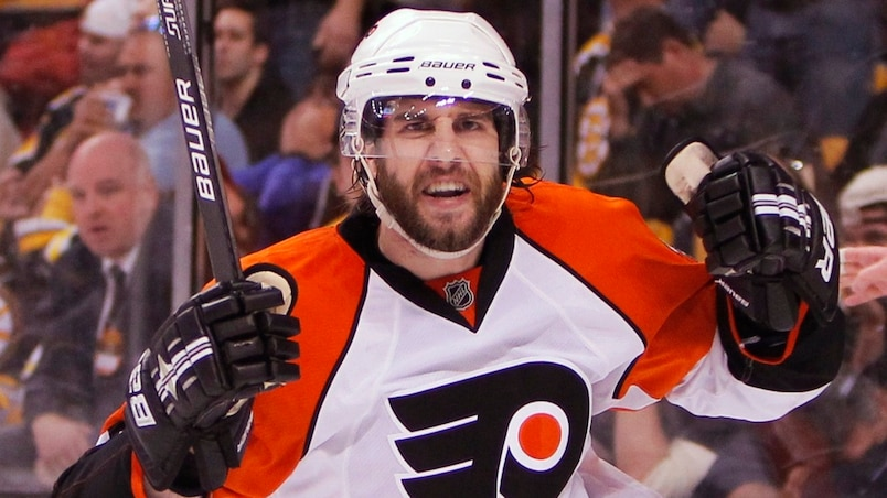 Philadelphia Flyers Simon Gagne celebrates his goal on the Boston Bruins during the third period in Game 7 of their NHL Eastern Conference semi-final hockey game in Boston