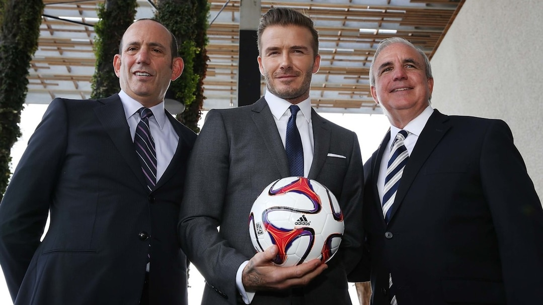 Don Garber, David Beckham et Carlos Gimenez