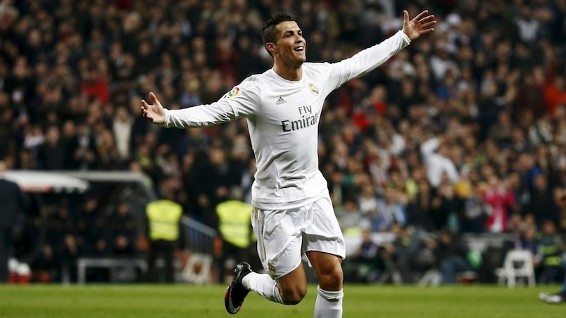 Real Madrid's Cristiano Ronaldo celebrates his second goal