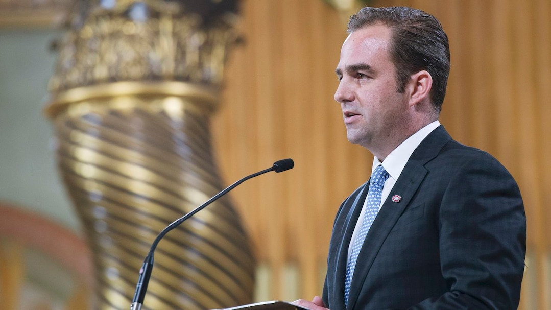 Montreal Canadiens owner Geoff Molson speaks at the funeral for former Montreal Canadiens captain Jean Beliveau in Montreal