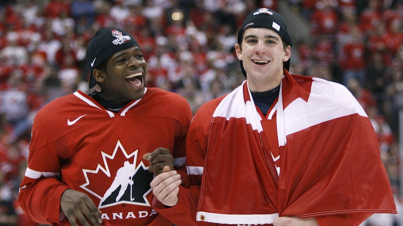 Canada's Subban and Tavares are pictured after winning the gold medal game against Sweden at the 2009 IIHF U20 World Junior Hockey Championships in Ottawa