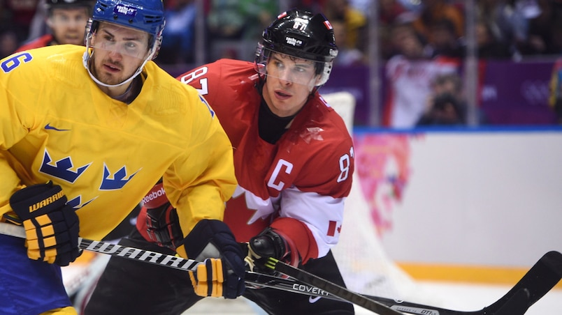 Team Canada vs Team Sweden in the men's ice hockey gold medal game at the Bolshoy Ice Dome during the Sochi 2014 Winter Olympics