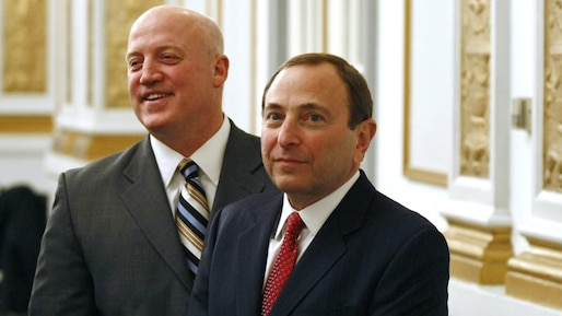 National Hockey League commissioner Gary Bettman (R) and deputy commissioner Bill Daly meet media following the NHL's Board of Governors meeting in Montreal