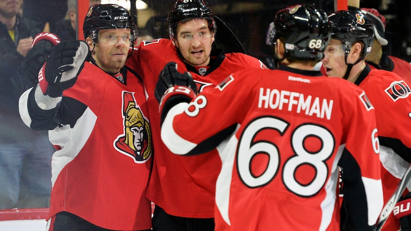 Ottawa Senators player's #9 Milan Michalek, #61 Mark Stone, #7 Kyle Turris and #68 Mike Hoffman