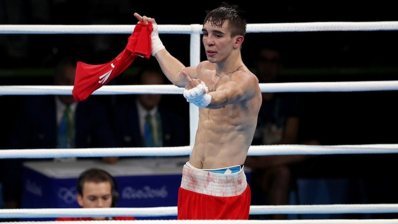 Geste obscène d'un boxeur irlandais