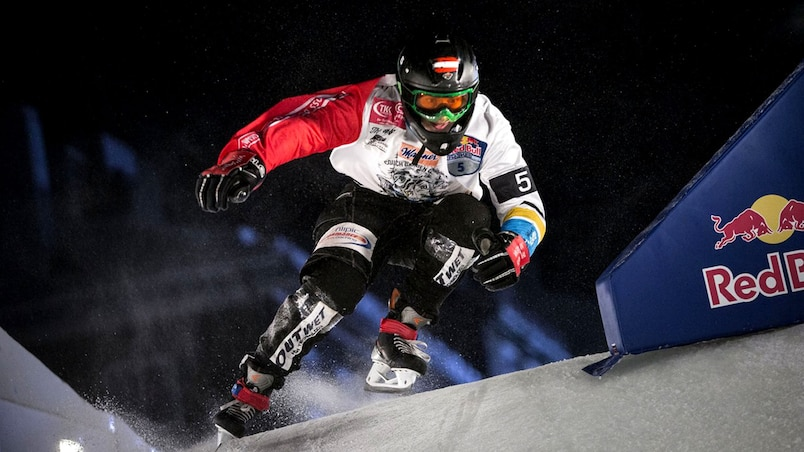 Edmonton will host Red Bull Crashed Ice downhill world series season finale from March 12 to 14, 2015. Pictured is Marco Dallago who won the 2014 world championship finale in Quebec City, Quebec.