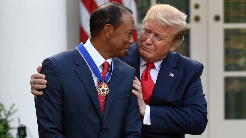 Woods ému aux larmes après avoir été honoré par Trump