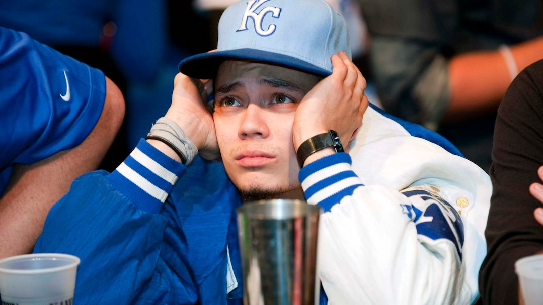Kansas City Royals fan react sduring baseball's World Series Game 7 watch party at The Kansas City Power & Light District